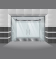 realistic facade of shopping mall with glass doors vector image