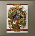 Cartoon hand drawn doodles Casino poster template vector image