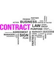 word cloud contract vector image vector image