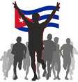 Athlete with the Cuba flag at the finish vector image vector image