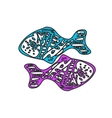 Zodiac sign Pisces two fish vector image