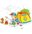 Boy scout roasting bread on campfire vector image
