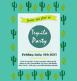 invitation template with cacti for tequila party vector image