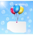 Multicolored balloons with paper card vector image