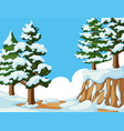 snow on trees and mountain vector image