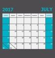 July 2017 calendar week starts on Sunday vector image vector image