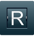 Letter R from mechanical scoreboard vector image
