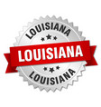 louisiana round silver badge with red ribbon vector image