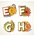Alphabet set from E to H vector image