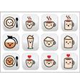 Cute coffee cappuccino and espresso kawaii button vector image vector image
