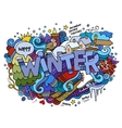 Winter hand lettering and doodles elements vector image