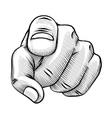 Retro line drawing of a pointing finger vector image vector image