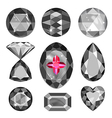 Set of greyscale black and red gems vector image vector image