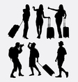 Tourist traveling silhouette vector image