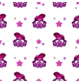 Seamless pattern with cute comic purple character vector image vector image