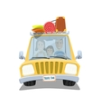 Happy family traveling in the car vector image vector image