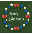 Christmas wreath with blue and silver balls vector image
