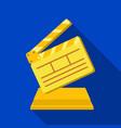 gold clapperboard on standaward for best director vector image