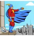 Superhero fat man and burger comic book vector image
