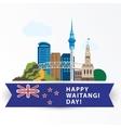 Happy Waitangi day 6 February New Zeland vector image