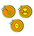 cryptocurrency black outline gold icons monero vector image vector image