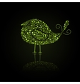 Green Bird Silhouette Composed from Go Green Eco vector image vector image