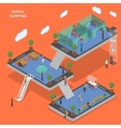Mobile shopping flat isometric concept vector image