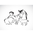Animals farm set vector image