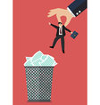 Boss throws a businessman in the trash can vector image