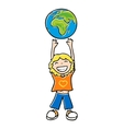boy with his hands up vector image