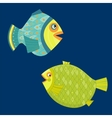 Cartoon sea fishes Coloring book vector image