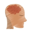 drawing person head brain think vector image