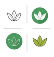 Green tea leaf flat design linear and color icons vector image