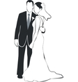 Wedding couple silhouette 02 vector image