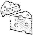 doodle cheese vector image vector image