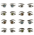 Set of eyes and brows isolated on white background vector image