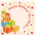 happy birthday and best wishes - greeting card vector image