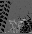 piston and crankshaft from the car on a dark vector image vector image