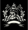 biker emblem with skull or dead motorcycle vector image