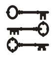 Old key silhouette set vector image