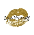 Poster with gold glitter lips prints on white vector image