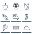 set of 9 meal icons includes fresh dining check vector image