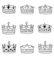 Set of crown hand draw style vector image