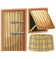 Wooden door and window vector image vector image