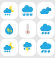 nature flat icons set collection of rain vector image