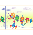 Birds sitting on wires vector image