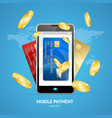 realistic mobile phone payment concept with credit vector image