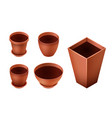 Set of empty ceramic brown flowerpots for vector image