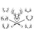 Set of antlers with a trophy and guns vector image vector image