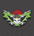 military logo skull with wings on the shield vector image vector image